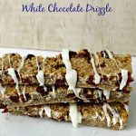 Strawberry Banana Granola Bars with White Chocolate Drizzle