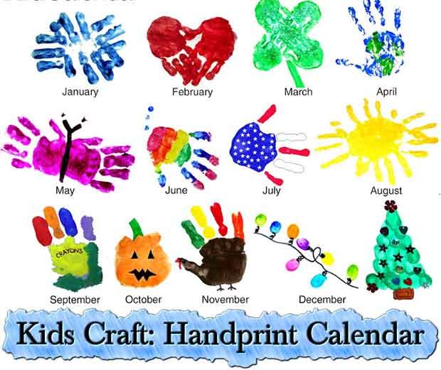 April Handprint Calendar : Kids craft handprint calendar lil moo creations