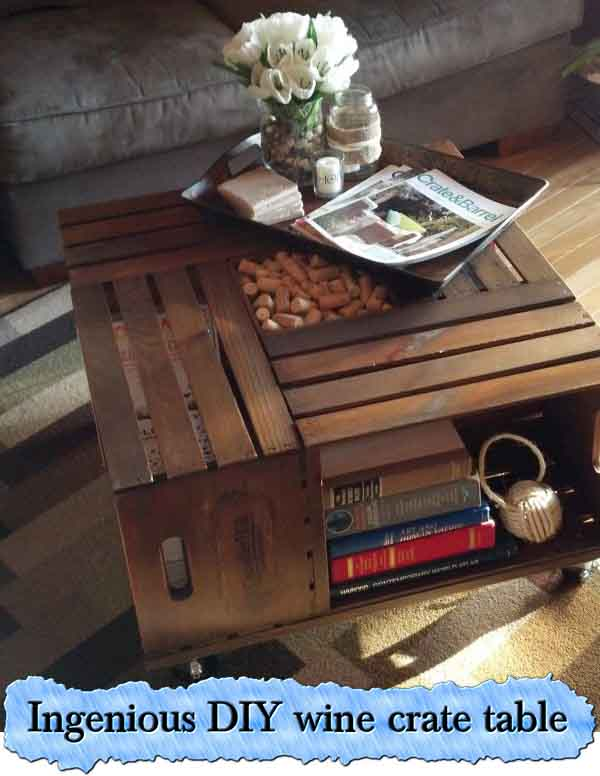 Ingenious diy wine crate table lil moo creations for Vintage wine crate coffee table