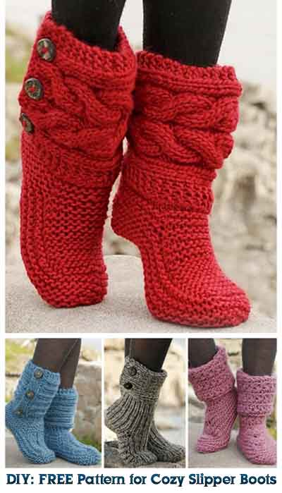 DIY: FREE Pattern for Cozy Slipper Boots - Lil Moo Creations