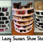 DIY Lazy Susan Shoe Storage