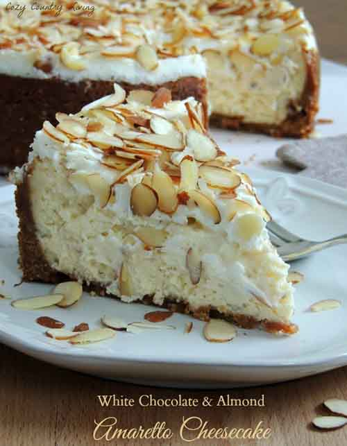 White Chocolate, Almond and Amaretto Cheesecake - Lil Moo Creations