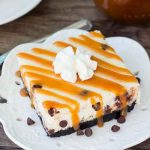 Chocolate Chip Cheesecake Bars with Caramel Sauce