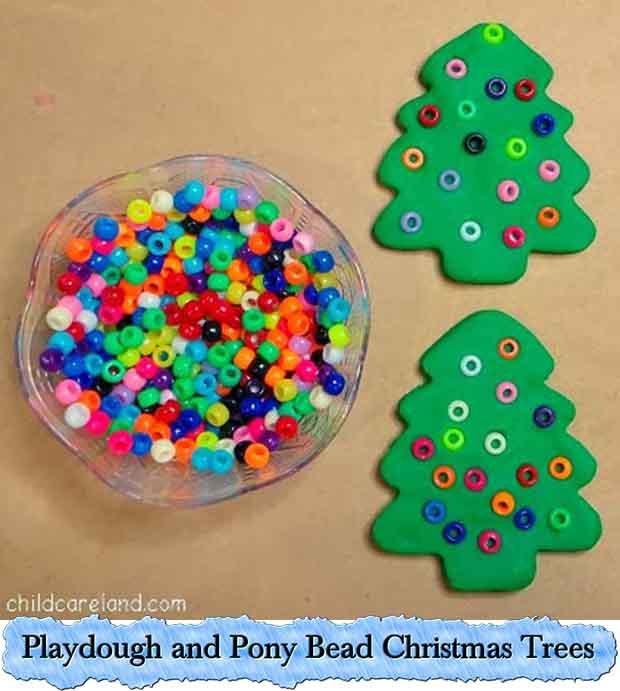 Playdough and Pony Bead Christmas Trees. photo credit to  childcarelandblog.com - Playdough And Pony Bead Christmas Trees - Lil Moo Creations