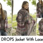 Crochet DROPS Jacket With Lace Pattern