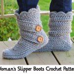 Woman's Slipper Boots Crochet Pattern
