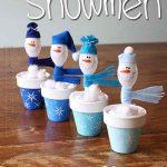 Plastic Spoon Craft: Snowmen In Clay Pots