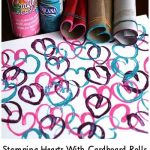 Stamping Hearts With Cardboard Rolls
