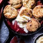 Strawberry Rhubarb Cobbler with Honey Butter Biscuits