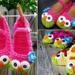 Crochet Owl Mary Jane Slippers