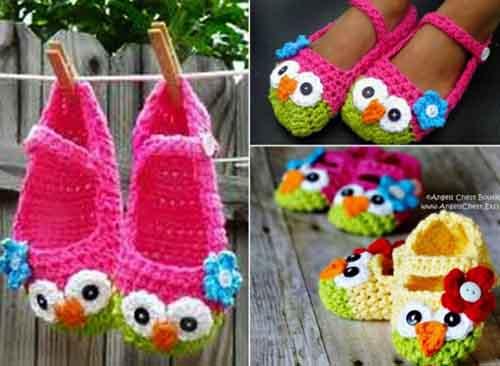 Crochet Owl Mary Jane Slippers